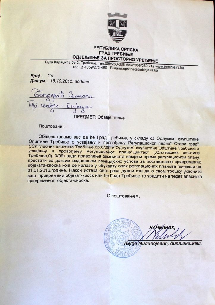 Obavještenje o uklanjanju kisoka (FOTO: Moja Hercegovina)