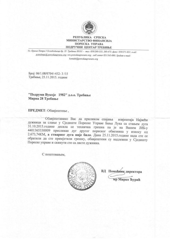 Obavještenje Poreske uprave RS, područni centar Trebinje