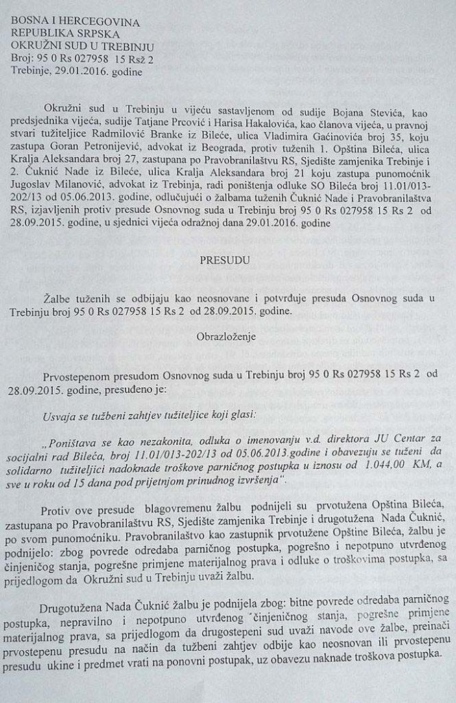 Pravosnažna poresuda Okružnog suda u Trebinju (FOTO: Moja Hercegovina)