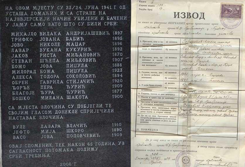 Придворачка, имена на спомен капели и Извод из матичне књиге вјенчаних