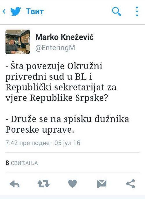 Kneževićev tvit koji je izazvao reakciju Dragana Davidovića