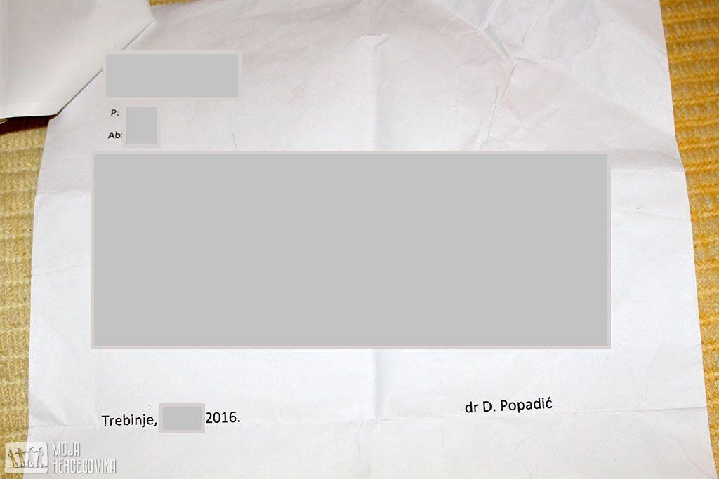 Nalaz iz privatne ordinacije dr Popadić (FOTO: Moja Hercegovina)