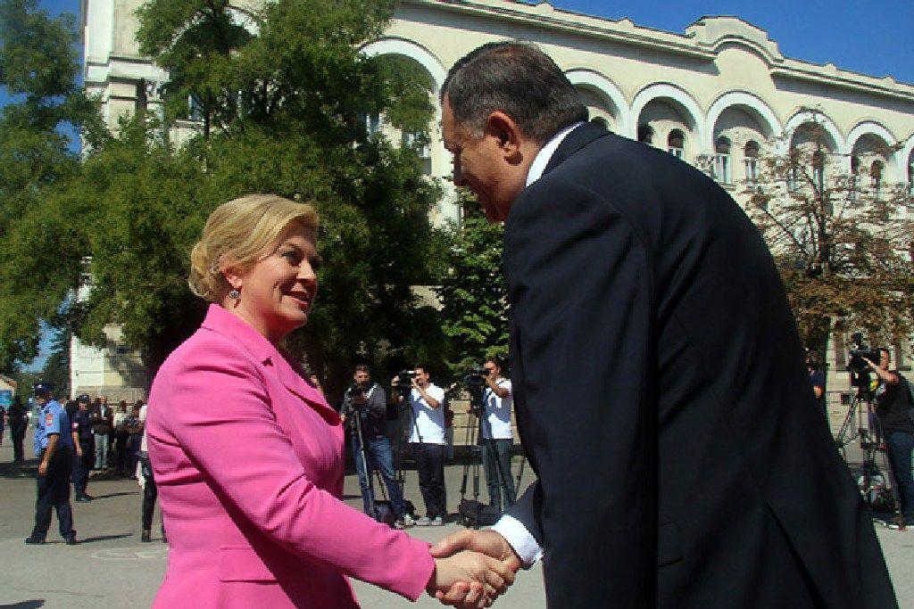 Milorad Dodik, predsjednik Republike Srpske i Kolinda Grabar Kitarović, predsjednica Hrvatske (Foto: RTRS)