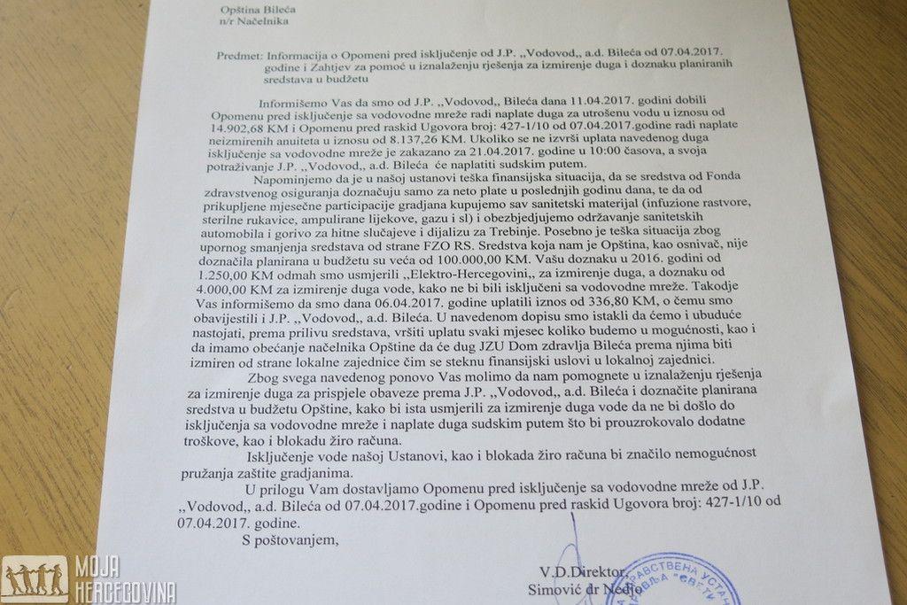 """Dopis JZU Dom zdravlja """"Sveti Luka"""" Bileća načelniku opštine (Foto: Moja Hercegovina)"""