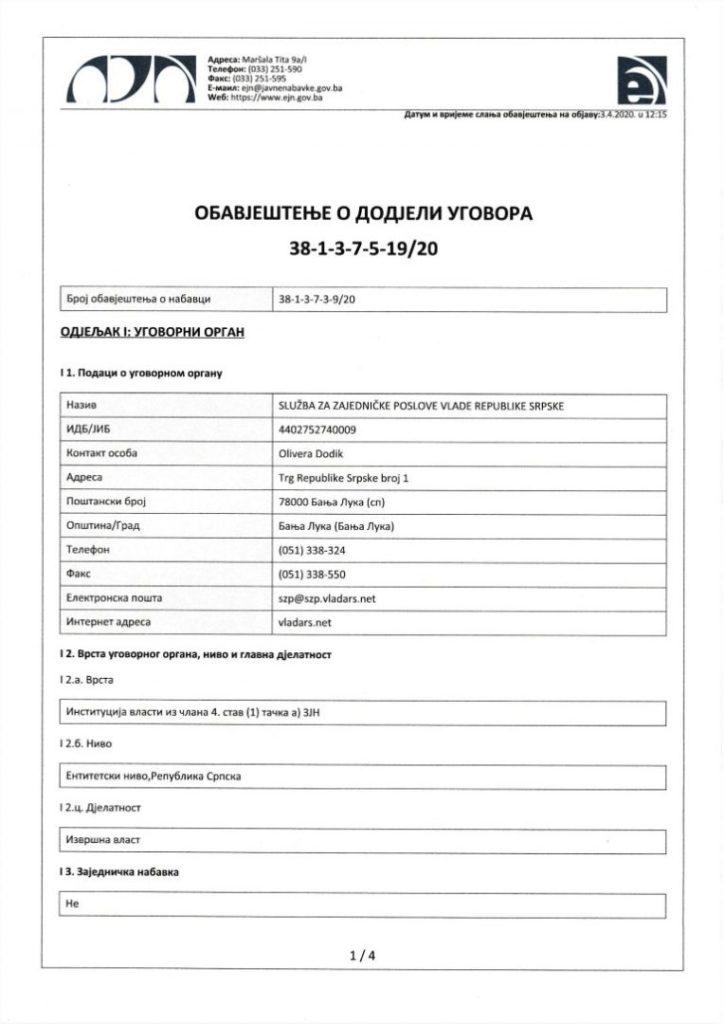 Foto: Faksimil obavještenja o dodjeli ugovora